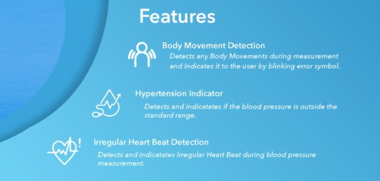 features of Omron blood pressure monitor