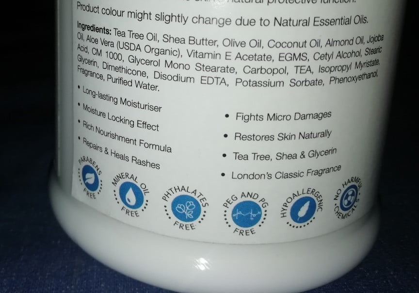 Ingredients of st. d'vence winter edition moisturizer