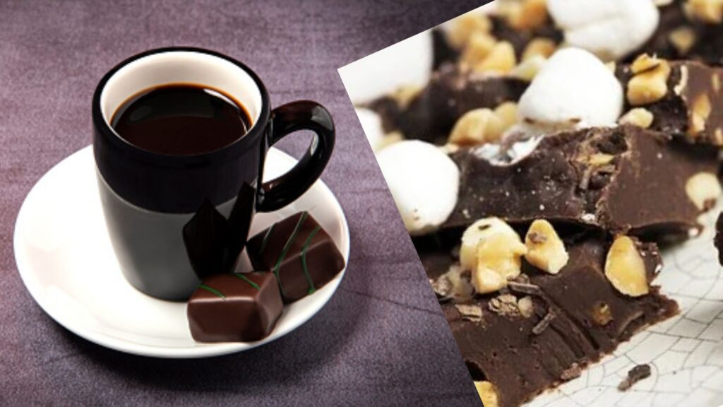 Coffee and dark chocolate togather a good evening snacks