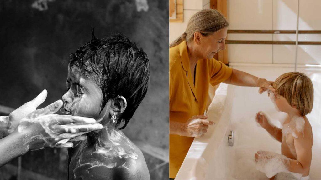 Kids bathing